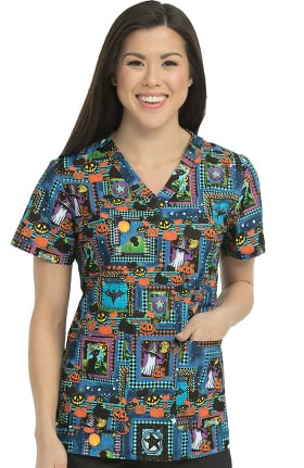 Med Couture Originals Women's Anna Halloween Print Scrub Top