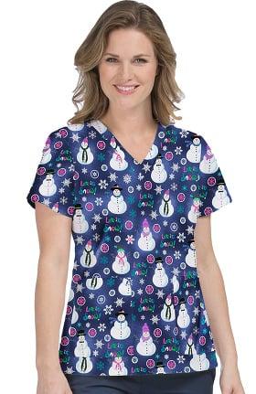 Med Couture Women's Anna Snowman Print Scrub Top