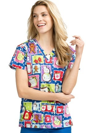 Clearance Med Couture Women's Anna Winter Print Scrub Top