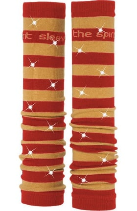Med Sleeve Women's Red and Old Gold Stripes with Bling