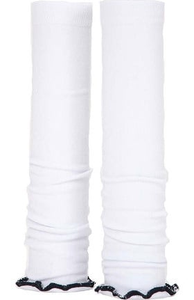 Med Sleeve Women's White with Black Ruffle