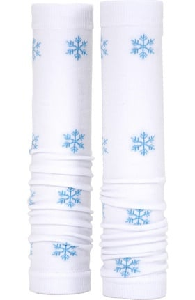 Med Sleeve Women's White with Blue Snowflakes