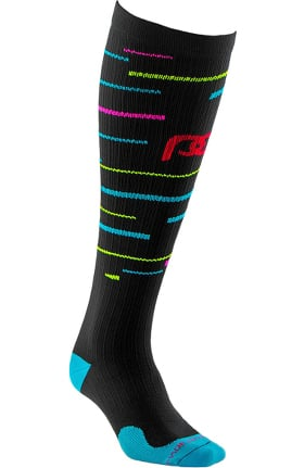Clearance Pro Compression Unisex Marathon Graduated 20-30 mmHg Neon Stripes Print Compression Sock