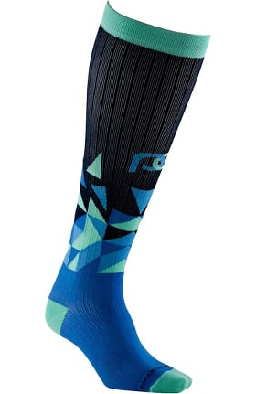 Clearance Pro Compression Unisex Marathon Graduated 20-30 mmHg Blue Vertex Print Compression Sock