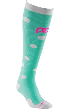 Pro Compression Unisex Marathon Graduated 20-30 mmHg Mint Dots Print Compression Sock