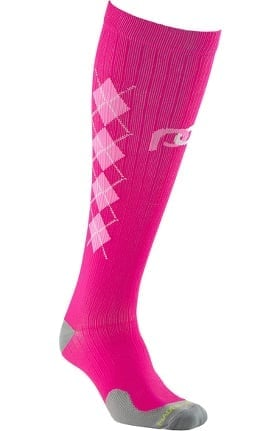 Pro Compression Unisex Marathon Graduated 20-30 mmHg Pink Argyle Print Compression Sock