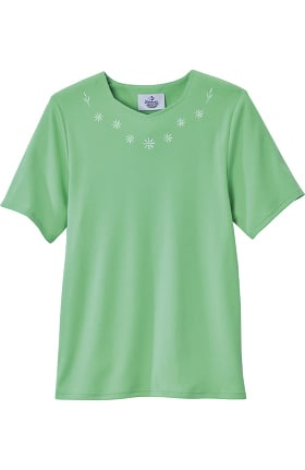 Clearance Silvert's Women's Open Back Diamond Neck Embroidered T-Shirt
