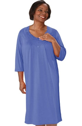 Silvert's Women's Open Back Diamond Neck Solid Lace Nightgown