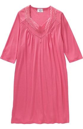Silvert's Women's Open Back Diamond Neck Solid Lace Nightgown