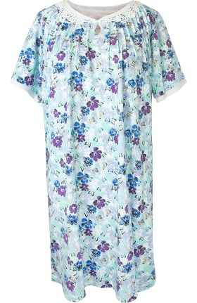 Silvert's Women's Open Back Lace Keyhole Print Nightgown