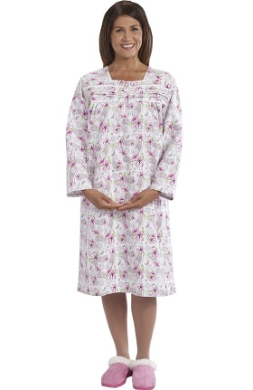 Silvert's Women's Adaptive Ruffled Print Patient Gown