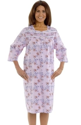 Silvert's Women's Adaptive Quarter Length Ruffled Print Patient Gown