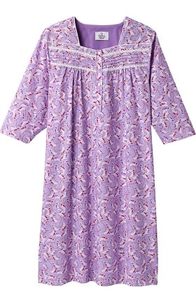 Clearance Silvert's Women's Adaptive Quarter Length Ruffled Print Patient Gown