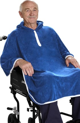 Silvert's Unisex Adaptive Terry Cloth Solid Shower Poncho
