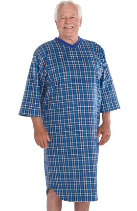 Silvert's Men's Open Back Flannel Print Nightgown