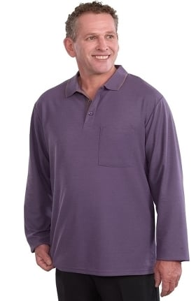 Silvert's Men's Open Back Long Sleeve Solid Polo