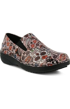 Spring Step Women's Ferrara Pink Multi Skull Print Slip On Clog