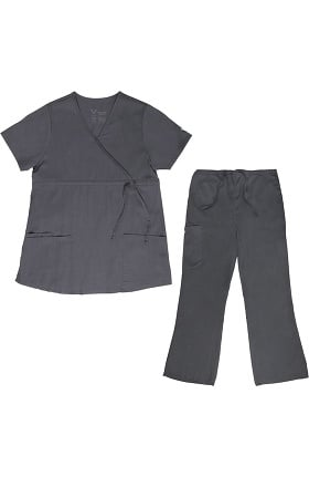 Vestex® Signature Stretch Women's Empire Mock Wrap Solid Scrub Top & Women's Flare Leg Cargo Scrub Pant Set