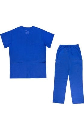 Vestex® Signature Stretch Unisex V-Neck 3 Pocket Solid Scrub Top & Unisex Cargo Scrub Pant Set
