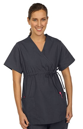Clearance VESTEX® Basics Women's Mock Wrap Solid Scrub Top
