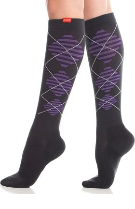 Clearance VIM & VIGR Women's 15-20 mmHg Compression Wool Argyle Print Sock - Wide Calf