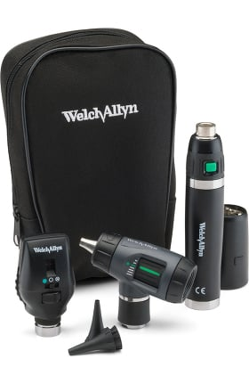 Welch Allyn 3.5 V Halogen HPX Coaxial Ophthalmoscope, MacroView Otoscope, Power Handle & Case Diagnostic Set 97201-MS