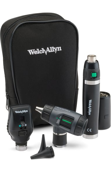 Welch Allyn 3 5 V Halogen HPX Coaxial Ophthalmoscope, MacroView Otoscope,  Power Handle & Case Diagnostic Set
