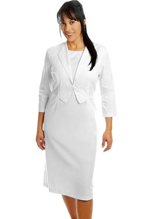 White Cross Women's Two Piece Look Vest Scrub Dress