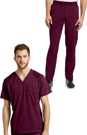 Fit by White Cross Men's V-Neck Solid Scrub Top & Mesh Waist Stretch Scrub Pant Set