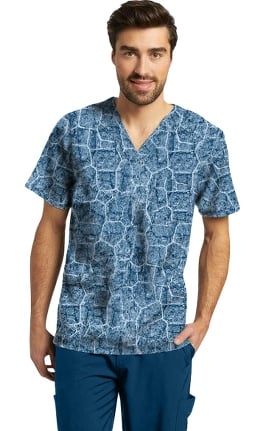 Fit by White Cross Men's River Stone Navy Print Scrub Top