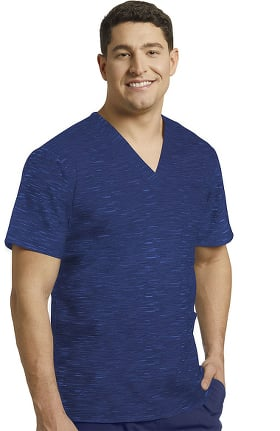 Fit by White Cross Men's V-Neck Abstract Print Scrub Top