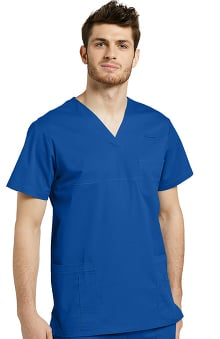 Allure by White Cross Men's V-Neck Yoke Solid Scrub Top