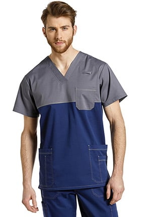 Allure by White Cross Men's V-Neck Contrast Yoke Solid Scrub Top