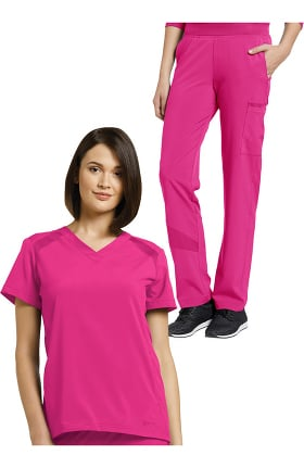 Fit by White Cross Women's V-Neck Solid Scrub Top & Mesh Waist Stretch Scrub Pant Set