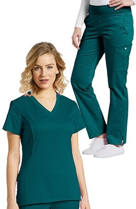 Allure by White Cross Women's Stretch V-Neck Solid Scrub Top & Yoga Style Scrub Pant Se