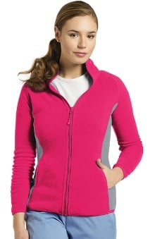 Allure by White Cross Women's Polar Fleece Zip Front Solid Scrub Jacket