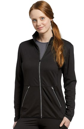 Fit by White Cross Women's Sporty Zip Front Solid Scrub Jacket
