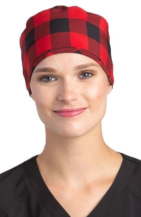White Cross Women's Red Buffalo Plaid Print Scrub Hat
