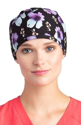 White Cross Women's Sweet Poppy Print Scrub Hat