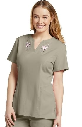 Marvella by White Cross Women's Split Neck Floral Embroidered Solid Scrub Top