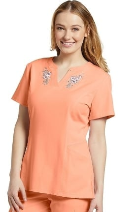 Clearance Marvella by White Cross Women's Split Neck Floral Embroidered Solid Scrub Top