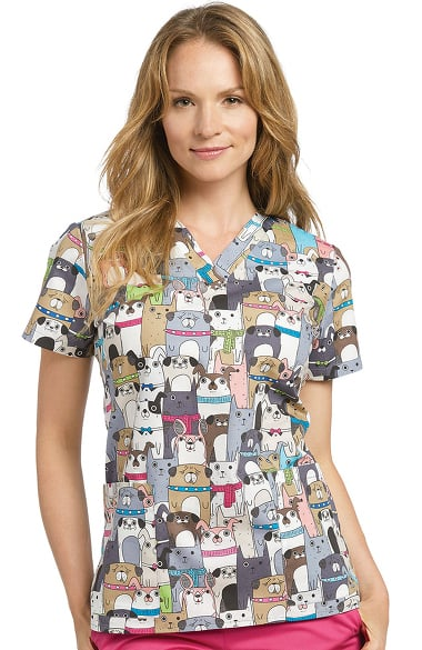 Allure By White Cross Women S V Neck Dog Print Scrub Top