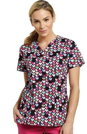 White Cross Women's V-Neck Heart Print Scrub Top