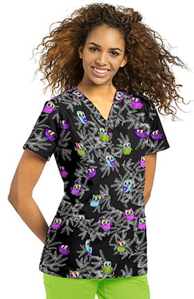 Allure by White Cross Women's V-Neck Owl Print Scrub Top