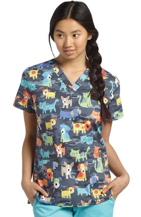 Clearance Allure by White Cross Women's V-Neck Pets Print Scrub Top
