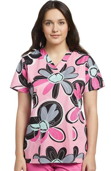 0ec185c7de1 Pink Floral Print Scrub Top   Allheart.com