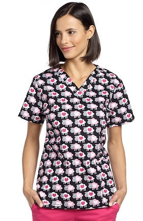 Clearance Allure by White Cross Women's V-Neck Heart Print Scrub Top