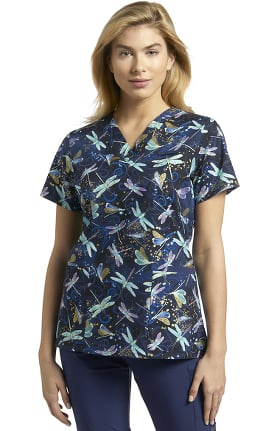 Allure by White Cross Women's V-Neck Dance Of Dragonfly Print Scrub Top