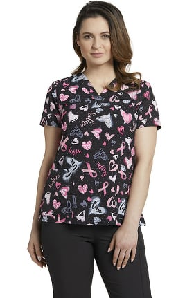 Allure by White Cross Women's V-Neck Hopeful Heart Ribbons Print Scrub Top