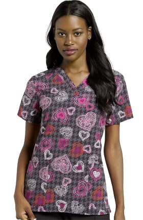 Allure by White Cross Women's Heart To Heart Print Scrub Top